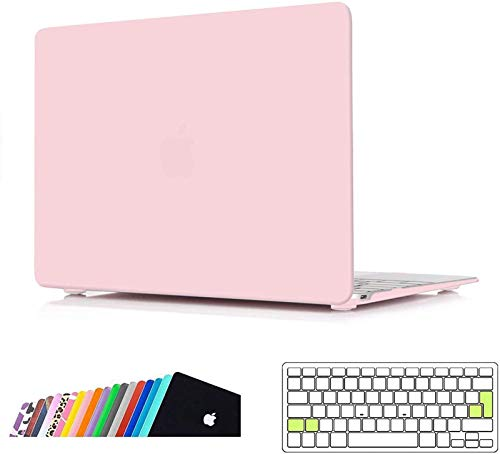 iNeseon MacBook 12 Case Cover, Ultra Slim Hard Shell Protection Case with Keyboard Cover for 2015-2017 MacBook 12-inch Retina Model A1534, Rose Quartz