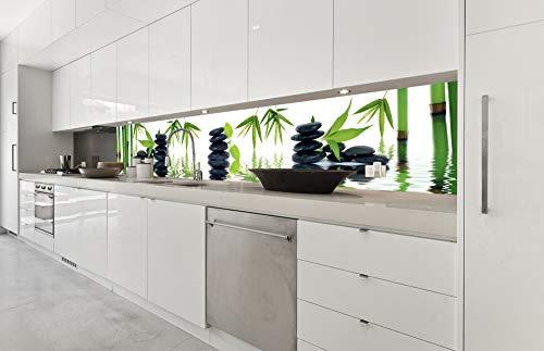 Küchenrückwand Folie selbstklebend ZEN STEINE 350 x 60 cm | Klebefolie - Dekofolie - Spritzchutz für Küche | PREMIUM QUALITÄT