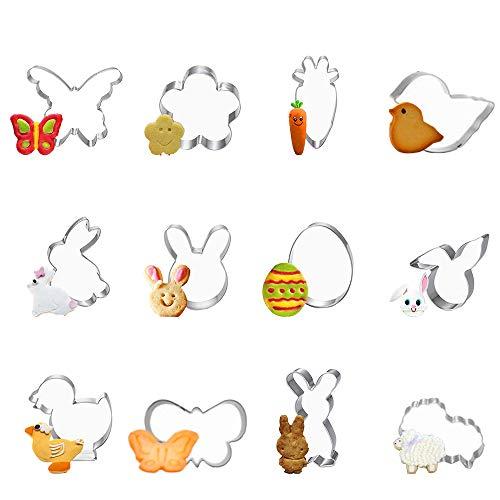 Meilo Ausstechformen,Ausstechförmchen Ostern,12 Stück Oster Ausstecher Set, Plätzchen Ausstecher Ostern,Ausstecher Hase,Keksausstecher Ostern, Ideales Ostergeschenk & für Osterplätzchen