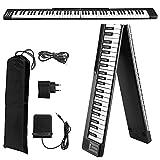 Piano Electrónico Plegable de 88 Teclas,Vogvigo Teclado Semipesado de Tamaño Completo con 128 Tonos/Bluetooth/Pedal de Sostenido/Aplicación Inteligente Para Practicar, Negro