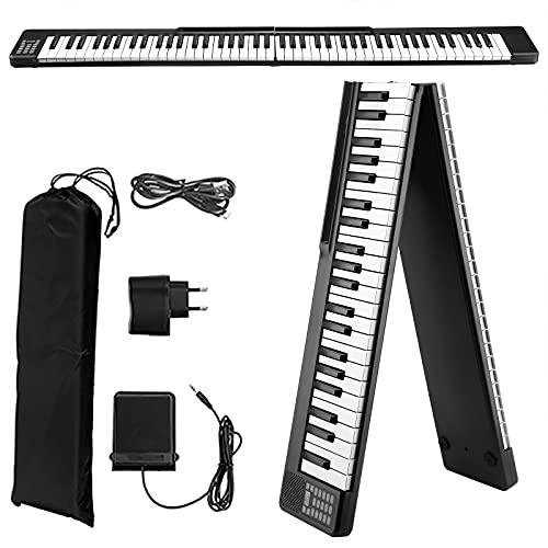 Pieghevole Pianoforte Digitale 88 Tasti,Vogvigo Pianoforte Portatile Pieghevole,Tastiera Semi-Pesata a Grandezza Naturale con 128 toni   Bluetooth   Pedale Sustain   APP Intelligente,Per Principianti