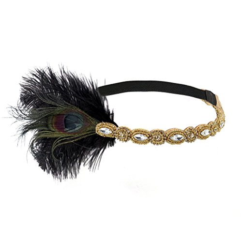 LUOEM dames pauw veer flapper hoofdband haarband 1920s elastisch met strass voor feestjes bruiloft burlesque kostuum accessoire (goud)