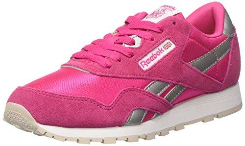 Reebok Unisex-Kinder Cl Nylon BD1287 Sneaker, Pink Rose Rage White Silver Steel, 36.5 EU