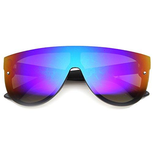 Modern Fashion Flat Top Flash Mirror Shield Plastic Aviator Sunglasses (Black/Sun)