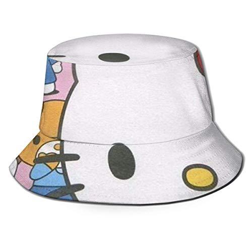 He-llo-Ki-tty Thumb Bucket Sun Hat para Hombres y Mujeres - Gorra de Pescador de Verano Plegable de protección para Pesca, Safari, Paseos en Bote por la Playa