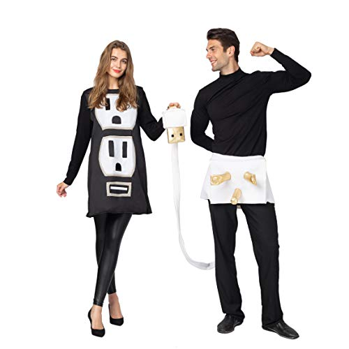 Spooktacular Creations USB/Light Plug and Socket Couple Set Halloween Costume for Adult (Standard) Black
