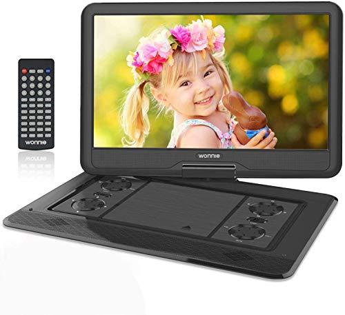 """WONNIE - Reproductor de DVD portátil (17,5"""", pantalla giratoria de 270°, 1366 x 768 HD, batería de 5600 mAh, 6 horas, sonido estéreo, regiones, USB/SD/AV Out & IN), color negro"""