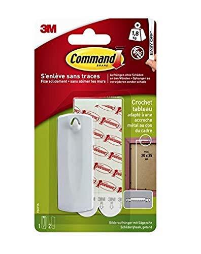Command 17040 Kunststoff-Bildernagel L (bis zu 1.8 Kg Tragkraft 1 Haken + 2 Strips, weiß