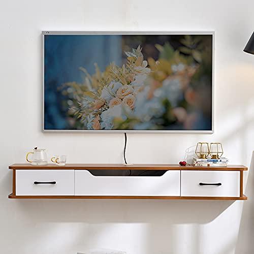 Bxzzj Soporte De TV Flotante De Madera, Consola Multimedia De Pared De 130 Cm, Mueble TV con 2 Cajones, Orificio para Cable Oculto/Ahorro De Espacio (Color : A, Size : 130CM)