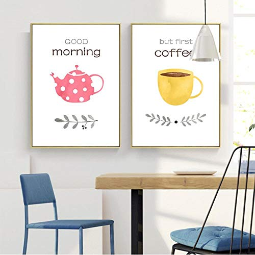 Eerste Koffie Letters Prints en Posters Goede Ochtend Theepot Canvas Muurschildering Afbeelding Schilderen voor Keuken Woonkamer Decoratie/50X70Cmx2 Geen Frame