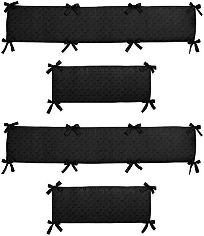 Sweet Jojo Designs Black Minky Dot Collection Crib Bumper