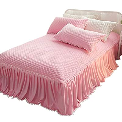 LIFEREVO Luxury Velvet Mink Diamond Quilted Fitted Bed Sheet 3 Side Coverage 18 inch Drop Dust Ruffle Bed Skirt with Pompoms Fringe