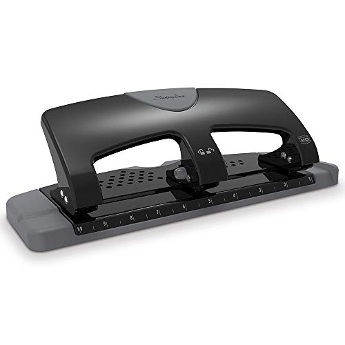 Swingline 3 Hole Punch, Desktop Hole Puncher 3 Ring, SmartTouch Metal Paper Punch, Home Office Supplies, Portable Desk Accessories, 20 Sheet Punch Capacity, Low Force, Black/Gray (74133)