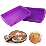 Orgrimmar 2 Pcs Silicone Rectangular Cake Pans Mold Bakeware Bread Baking Pan Non Stick Easy Demoulding Purple