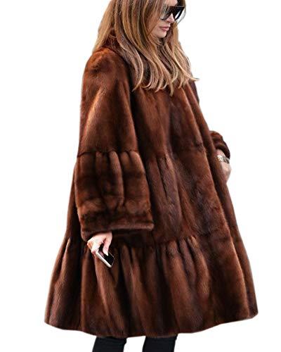 Roiii Damenmantel Damen Winter Vintage Oberbekleidung Kunstpelz Long Trench Lapel Parka Jacke Größe 36-50 (XL,Braun)