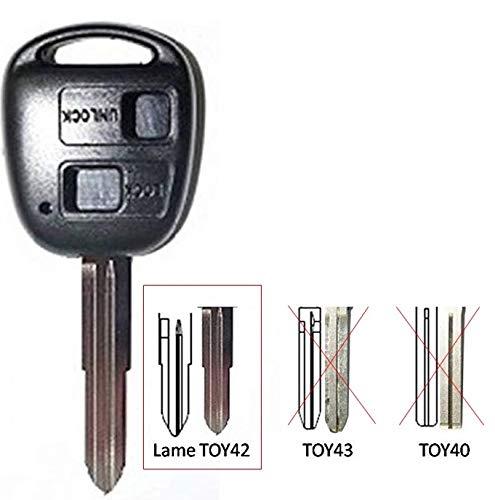 CLE-AUTO Coque clé compatible pour Toyota/Land cruiser 2 boutons Corolla, Celica, Rav4, Yaris Avensis sans bouton
