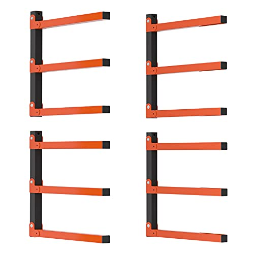 TORACK Lumber Storage Metal Rack, 2 Pack Wood Rack Organizer, 3-Level Wall Mount, Wood Storage System, Durable Sheet Screws, Workshop Rack