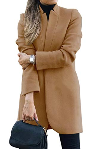 CinShein Women Peacoat Trench Coat Casual Mid Long Overcoat Lapel Open Front Slim Fit Winter Blazer Cardigan Outwear Khaki Large