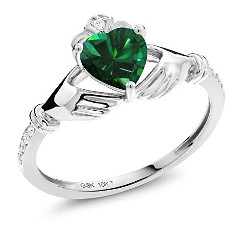 Gem Stone King 10K White Gold Green Simulated Emerald and White Diamond Irish Celtic Claddagh Ring (0.76 Ct Heart Shape) (Size 6)