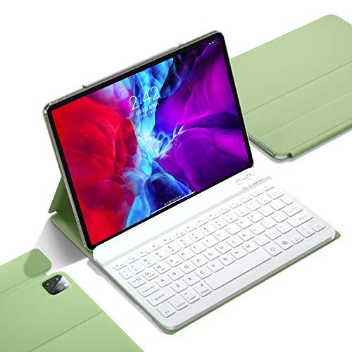 iPad Pro 11 inch Keyboard Case 2021/2020,Thin Slim Smart case with Wireless Detachable Keyboard, Supports 2nd Pencil Charging,Auto Wake (Matcha Green)