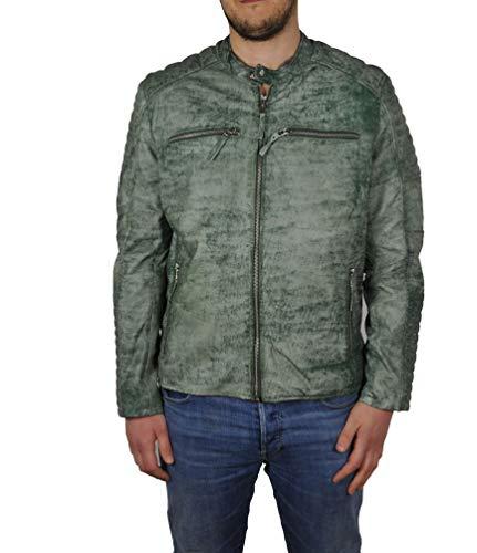 HM-Moden Punchball - Herren Lederjacke aus weichem Lammleder in Schwarz, (Artikel m112), Größe:46, Farbe:Green