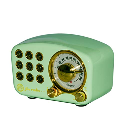 Retro Radio Bluetooth Speaker Slight Green Old Fashioned Classic Style Bluetooth Speaker Creative Appearance Gift for Girls Bass Enhancement Loud Volume Vintage Speaker by Benzama