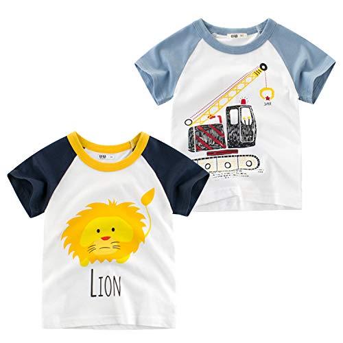 Oyoden Bambino Maglietta Manica Corta Ragazzi Cotone T-Shirt Casual Cartone Animato Tops 1-8 Anni 2 Pack