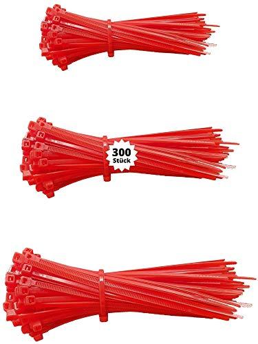 djb, extra hochwertige Profi Kabelbinder rot, Set, 300 Stück, Industrie-Qualität, Sortiment 100/140/200 mm