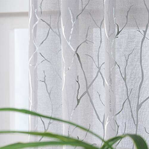 Kotile Voile Net Curtains for Bedroom - 72 Inch Drop Eyelet Semi Sheer Nets Printed Metallic Silver Tree Branch Window Voile Curtains Light Filter for Living Room, 46 x 72 Inch Drop, 2 Panels(1 Pair)