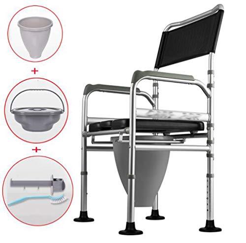 LQ&XL Tragbarer Toilettenstuhl, Faltbarer Duschstuhl,Höhenverstellbar, Medizinische Versorgung, Schwere Bel