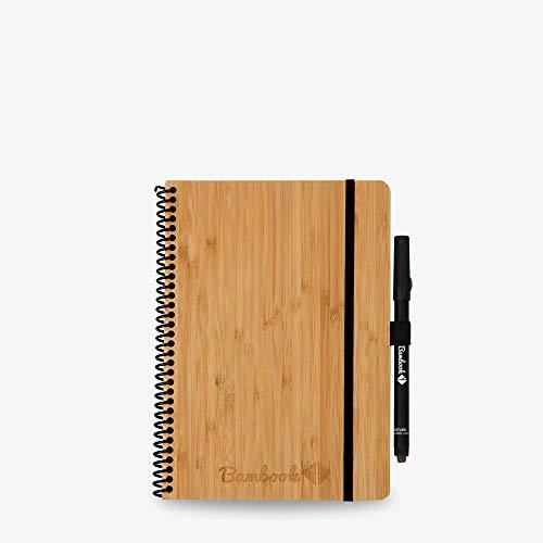 Bambook Whiteboard-Notizbuch A5 mit Stift - Bambus-Holz Hardcover - Liniert & Blanko - Nachhaltig & Wiederverwendbar