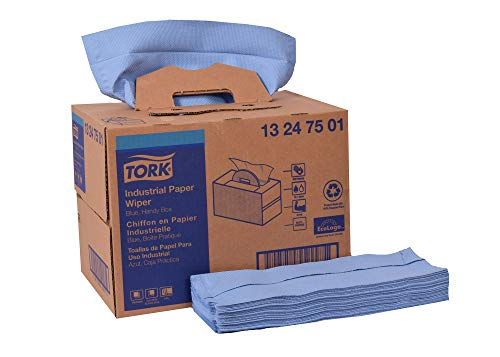 Tork 13247501 Industrial Paper Wiper, Handy Box, 4-Ply, 12.8' Width x 16.5' Length, Blue (Case of 1 Box, 180 Towels)