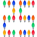 LED Christmas Replacement Bulbs 25 Pack C7, for Outdoor and Indoor, Dimmable, E12 Candelabra Base, Multi Colored Light