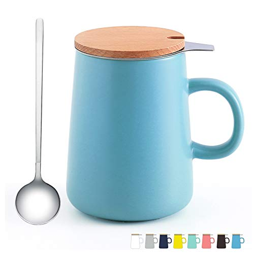 JFAMILY Porcelain Tea Mug with Infuser Lid5 Pieces Tea Steeping System15 OZMatte Light Blue