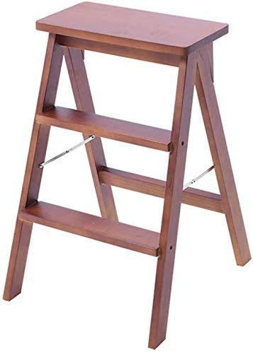 GUOXY Multifunktions-Stufenleiter Folding Walker Hocker / 3 Stufenleiter, Holz Stairchair Garten Hochstuhl High Performance Gartengerät High Performance Max. 150 Kg In Brown