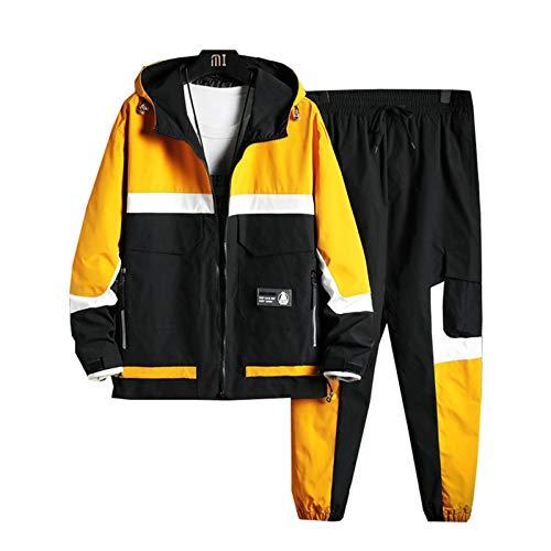 Traje de chándal para Hombre Modelos de otoño de Primavera Herramientas de Herramientas de 2 Piezas Chaqueta de Empalme Pantalones de Carga Hombres Casual Streetwear Yellow M