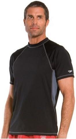 Speedo Men's UPF 50+ Solid Colorblock Loose Fit Short Sleeve Rashguard Swim Tee