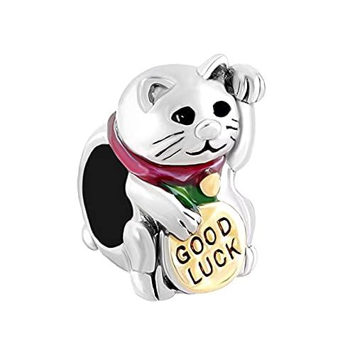 Pandora 925 Joyería De Moda De Plata Para Mujer, Cuentas De Gran Agujero Para Chicas De Lujo, Pulsera De Metal De Buena Suerte Con Gato Europeo, Regalo Exquisito