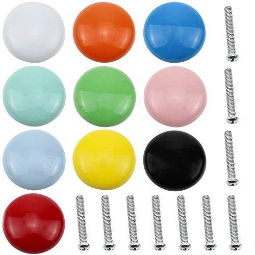 UBERMing 10 Stück Schubladenknöpfe 32mm Runde Bunt Keramik Möbelknöpfe Schranktürknöpfe, Schubladengriffe, Keramik Knauf für Möbel Schublade Schrank - 10 Farben