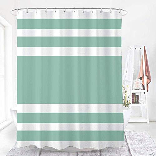 WELTRXE Duschvorhang aus Polyester, wasserdichte Duschvorhänge mit 12 Duschvorhangringen, grüner waschbarer Badewannenvorhang mit verstärktem Saum in 180 x 180 cm