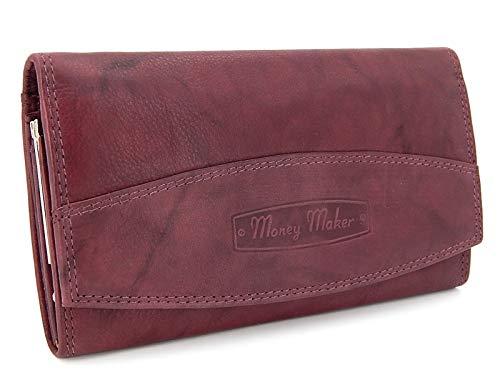 Große Geldbörse für Damen mit klippverschluss - RFID-NFC Schutz Portmonee, Frauen Geldbeutel, Portemonnaie Druckknopf Brieftasche (Bordo)