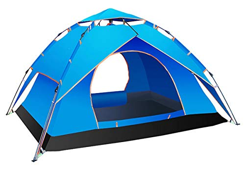 VIKOCELL Large family tent with double-layer waterproof dome tent, automatic camping pop-up tent 1-2 models 3-4 people, hydraulic camping waterproof tent-3-4 people double blue_240x210x135cm