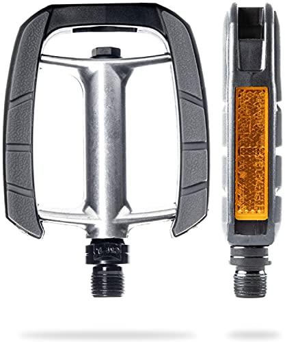 AARON City Fahrradpedale mit rutschfestem Gummi Grip und abgedichtetem Industrie-Kugellager, Trekkingpedale mit Reflektoren für E-Bike, Trekking Bike, City Bike, Silber/Schwarz
