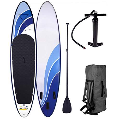 SUP Board Stand up Paddle Paddling Glider 320x76x15cm aufblasbar Alu-Paddel Hochdruck-Pumpe Rucksack Kick-Pad bis 150KG gewebtes Drop Stitch