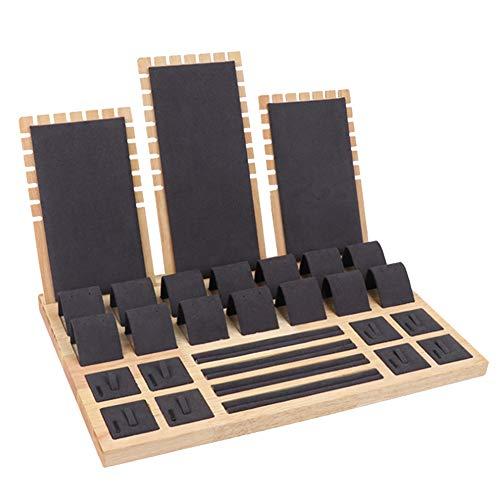 Suading Soporte de madera de terciopelo para joyas, pendientes y pendientes, color negro