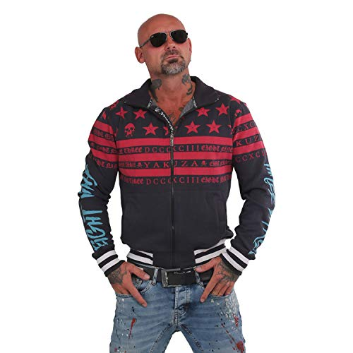 Yakuza Herren Skull N Stripes Trainingsjacke Zipper