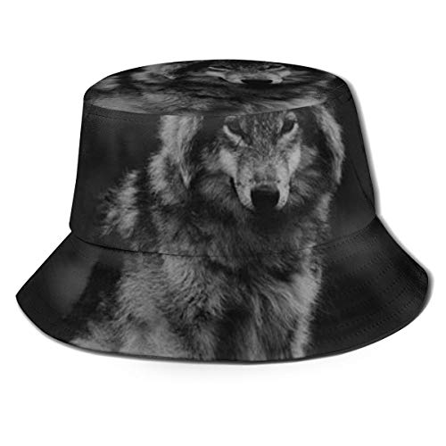 Wolf Art (1) Aesthetic Reversible Summer Sun Bucket Hat Outdoor Cap Travel Beach Fishing Golf Men Women Teen Black