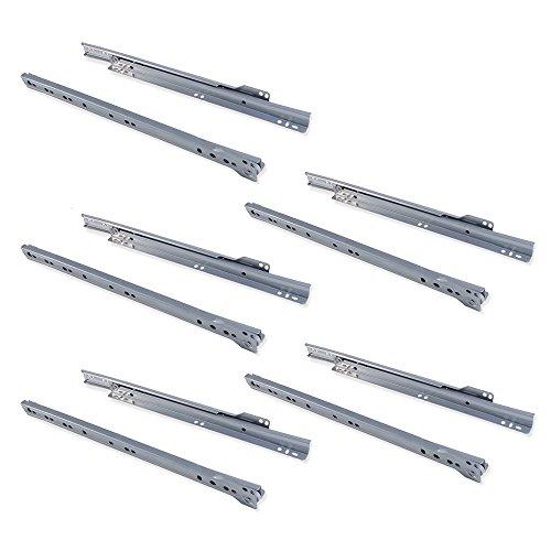EMUCA - Guías correderas para cajones 350mm con extracción Parcial Color Gris Metalizado, Lote de 5 guías para cajones