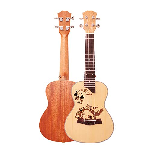 KEPOHK Ukelele de concierto de 23 pulgadas, 4 cuerdas de nailon, mini guitarra hawaiana para niños, adultos, acústica musical, abeto tallado, pájaros de 23 pulgadas y 23 pulgadas