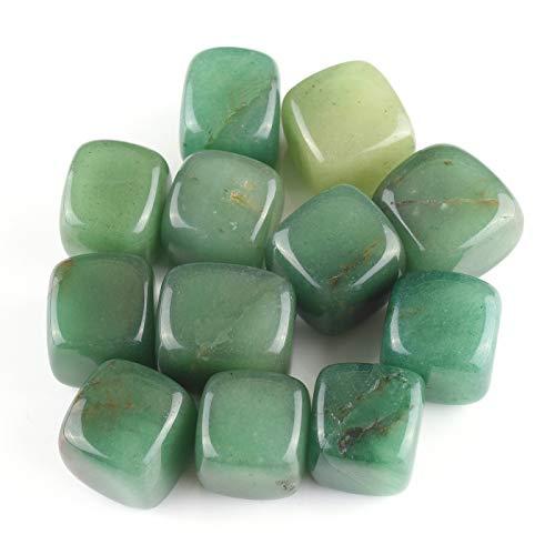 Top Plaza Tumbled Polished Stones Healing Crystals Natural Green Aventurine Gemstone Quartz Bulk For Wicca Reiki Healing Energy - 12 Pcs